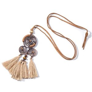 Women Charm Vintage Bohemian Ethnic Tassel Pendant Necklaces Choker Long Sweater Rope Chain Clothing Jewelry Accessories