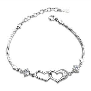 S925 Stamped Bracelets Double Heart 925 Sterling Silver Charm Fashion Crystal Diamond Chain Bracelet Jewelry for Women Girls Lady Girlfriend