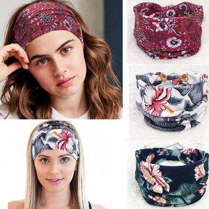 Boho ancha bandas de estiramiento de las mujeres de la venda de Headwrap del turbante del pelo de Headwear ancha Torsión Yoga pelo de la venda del turbante diadema KKA7780