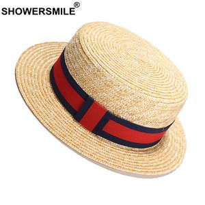 SHOWERSMILE Paille Chapeaux Panama Femme Ruban Rouge Sun Beach Hat femme élégante marque britannique de vacances d'été pour femmes Chapeaux et casquettes