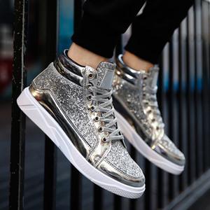 Britische Art-hellen Leder Herren Schuhe High Top Freizeitschuhe Fashion Lace Up Men Sneakers Paillette Bling Flache Stiefel Goldsplitter Schwarz