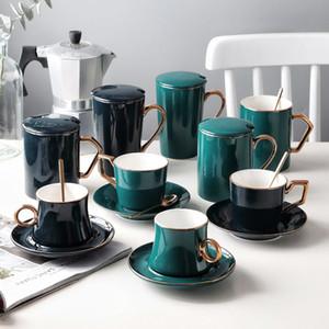MUZITY elegante keramische Kaffeetasse Set Porzellan Goldrand Tee-Tasse und Untertasse mit 304 Edelstahl-Löffel-Keramik-Becher T191024