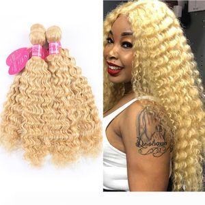 613 Color Hair Weft Blonde Brazilian Deep Wave Bundle 8-24 Inch Remy Human Hair Weave Platinum Blonde 1 3pc Bundles