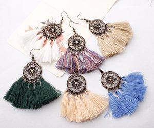 Bohemian Style Tassel Chandelier Earrings for Women Girls Handmade Vintage Gold Plated Flower Hoop Dangle Earing Fashion Jewelry Gift Trendy
