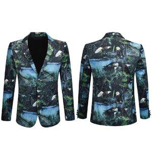 Traje chaqueta de los hombres del estilo chino de alta calidad de manera imprimió la tela escocesa de terciopelo Blazer Actor Cantante Dj etapa del vestido Superstar
