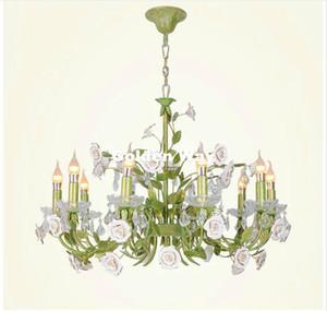 무료 배송 꽃 샹들리에 램프 광택 빛 6L 크림 장미 꽃 샹들리에 조명기구 E14 D65cm 장식 샹들리에