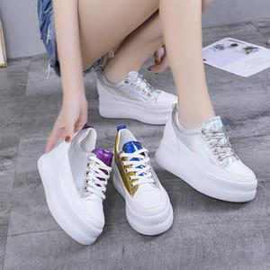 de fondo grueso zapatos crecientes luz femenina 2019 nueva versión coreana de los estudiantes temperamento Harajuku marea ulzzang causales zapatos zapatos de moda