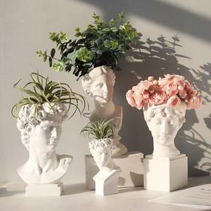 Modern İskandinav Stili Yaratıcı Portre Vazo İnsan Kafa Dekoratif Süsler Reçine David Medici Venüs Vazo Ev Dekorasyon R1958 T200624