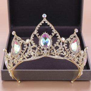 DIEZI الباروك AB الزفاف كريستال التيجان تاج العروس الذهب العصابة الزفاف الإكليل الملكة ولي العهد الأميرة زينة الشعر
