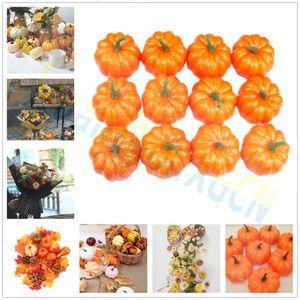 Halloween pumpkin 8.5CM Fake Vegetable Simulation Halloween Artificial Pumpkin Diy Craft Home Birthday Party Wedding Decoration