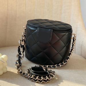Kette Umhängetaschen Cosmetic Bag Umhängetasche Einfache einfache Farben-Qualitäts-Diamant-Gitter-Damen Kleiner Zylinde Kostenloser Versand