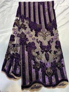 Velvet lace Stoff ist für die neueste Nigerianischen Französisch Tüll 2020 hochwertige afrikanische Pailletten Stoff h36461