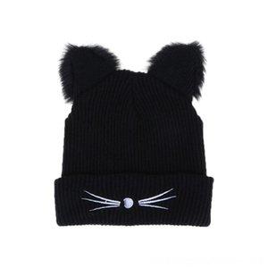 Siyah Örme Kış İçin Kadınlar Sevimli Kedi Ears Isınma Şapka Skullies Şapka Ponpon Şapka Caps Şapka, Atkı Eldiven Caps Kadın Bonnet Femme Woole