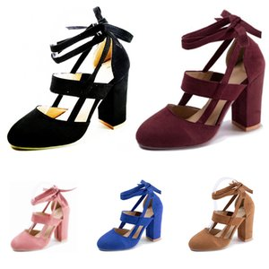 2019 whole slae fashion women high heel suede black pink red blue brown ankle strap thick heel casual sandals size 35-43