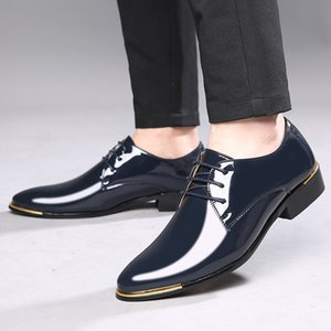 Dress Shoes Size 48 Mens Patent Leather Man Wedding For Party Blue Red Black And White Oxford Male Formal
