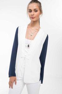 Brasão Moda Mulher DeFacto mangas compridas senhoras Outono Casual Harajuku Chiffon roupa Comfort Nova - J1733AZ18SM
