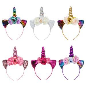 Cabelo unicórnio varas Glitter Metálico Unicórnio Headband Meninas Flores Chiffon Hairband Para Crianças folha flor Unicorn Acessórios Do Cabelo Chifre M154