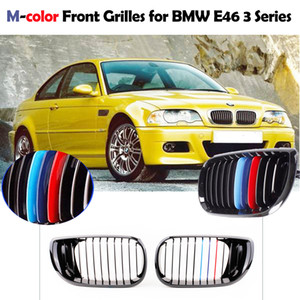 Freeshipping Car-styling 2 Pz Black M-Colour Front Grille renale per BMW E46 4 Porta Serie 3 Serie 3 Facelift Saloon 2002-2005