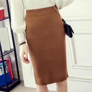 2020 Spring Autumn Winter Sexy Elegant Women Elastic Pencil Skirt Ladies Knitted Skirt Female Knee-Length Bodycon JW9362