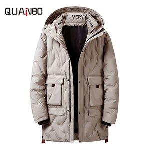 QUANBO 2019 yeni kış erkek aşağı ceket moda İngiliz rüzgar kalın, sıcak ve uzun kapüşonlu ceket yüksek kalite gençlik erkekler parkas