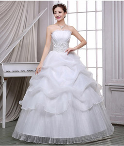Sleeveless Strapless lace wedding dress ball gown Formal occasion dress lace-up back bridal dress