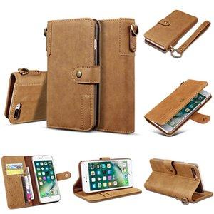 Роскошная телефон чехол для iPhone XS MAX XR 8 Plus Vintage кожаный кошелек Lanyard чехол Кронштейн кобура Защитный чехол с подставкой
