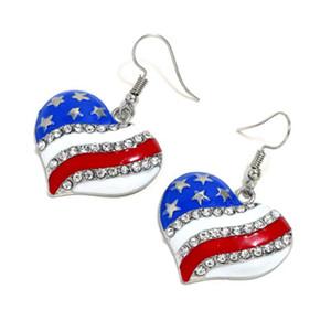 Coração De Cristal Da Orelha Studs Moda Estrela Forma de Bandeira Americana Independência Brincos Para As Mulheres Presentes Da Jóia geométrica Patriótica LJJJ103