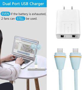 Neck Hanging Power Bank Fan de mode portable mini ventilateur USB Sport Wearable charge avec la lumière LED d'emballage au détail pour les cadeaux