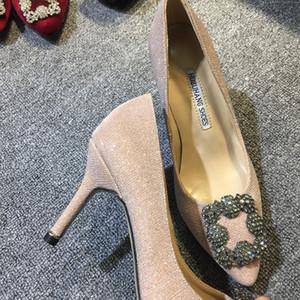Livraison gratuite 2019 Mesdames satins de soie pillage Pointu coloré chaussures de diamant 8.5cm haut talon Strass pompes dimond noir DRESS SHOES 003