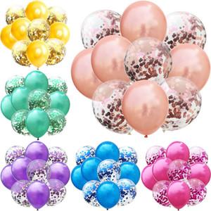 12 polegadas balão Set 5pcs Látex Balão + 5 pcs Lantejoula Confetti Balão Set aniversário de casamento decoração do partido Confetti balões