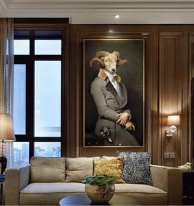 Nostalgia retrò Pitture a olio di arte Gentleman Animal Wall Poster e Stampe della tela di canapa Pittura per Living Room Home Decor