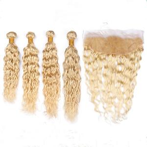 # 613 금발 인디언 버진 인간의 머리카락 습식 및 정면 폐쇄 4Bundles와 물결 모양의 직물 Blonde Water Wave Hair Wefts with 13x4 레이스 정면