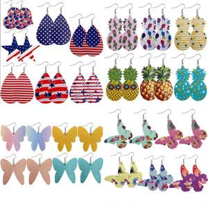 Mischreihe PU Kunstleder baumeln Ohrringe Handgemachte Tropfen Pendientes Ohrringe für Frauen-Schmucksachen
