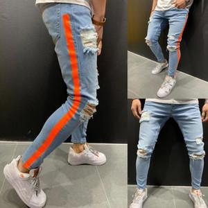 Moda Erkek Kırmızı Çizgili Jeans İlkbahar Sonbahar Casual Erkekler için Blue Design Biker Jean Pantolon Ripped