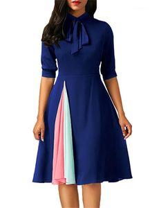 Женщины платье Тонкого Большого свинг Contrast смычок цвет пояс O-образный вырез Лето Осени женщины конструктора платье Лоскутная Половина рукав