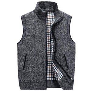 New Mens Winter Wool Sweater Vest Mens Sleeveless Knitted Vest Jacket Warm Fleece Sweatercoat Plus SIze