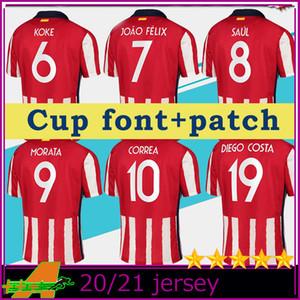 Madrid Cup font 20-21 Soccer Jerseys # 9 MORATA 2020 Men Soccer shirts with league patch Football uniform On sale Football Uniforms