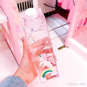 Unicorn Milch Tasse Rosa Mädchen Wasserflasche Lebensmittelqualität Cuboid Plastikbecher Kinder Schöne vortäuschen Getränke Eco Friendly 12lsB1