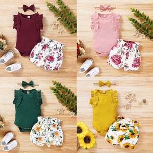 Kids Clothes Girls Floral Outfits Infant Ruffled Sleeve Romper Tops + Floral Shorts + Headbands 3pcs set Summer Baby Clothing Sets M2235
