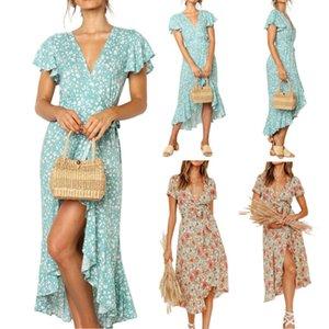 Le donne maxi Boho floreale scollo a V abito Pastorale Summer Long fessura del partito di sera femminile irregolare Beach vestiti da sole