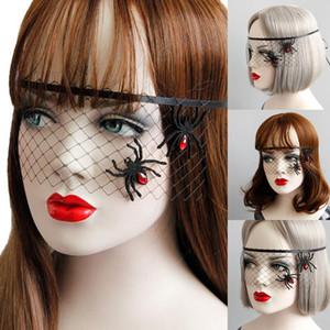 2019 Nouveau masque dames femmes filles Bandeau gothique maille dentelle d'araignée Voile Masque Halloween Party fête de la mode Couvre-chef noir