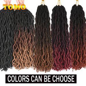 18inch Goddess Faux Locs Crochet extensões do cabelo macio Natural dreadlocks sintéticos Crochet tranças do cabelo Ombre Preto Brown Loira Burgundy