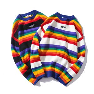 Carta de impressão Malhas Camisolas Homens Color Block arco-íris listrado camisola Harajuku Retro Casal Casual Streetwear