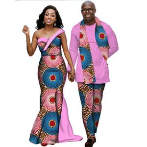여성을위한 아프리카 드레스 Bazin Riche Mens 셔츠 및 바지 세트 연인 커플 의류 인쇄 긴 드레스 아프리카 의류 WYQ139