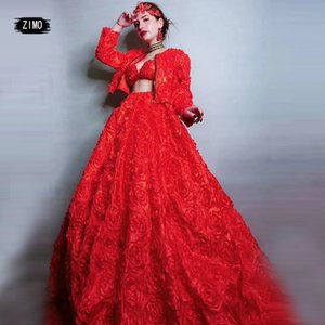 fashion Costumes Red Rose Fluffy Dress Birthday Celebrate Women Prom Evening Stage Singer Dancer Long Train Dress concert outfit