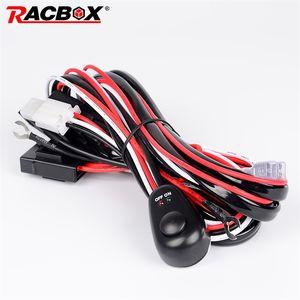 RACBOX 2 미터 12V 40A 오프로드 LED 드라이빙 램프 증축 와이어 릴레이 LED 워크 라이트 바 배선 직기 하네스 키트 퓨즈 스위치 4 × 4