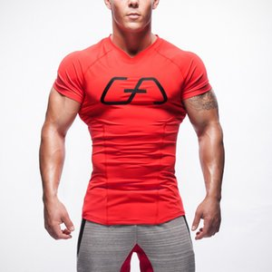 Sports Popular Brand Muscle Fitness Brothers Cotton Short-sleeved Sports T-shirt Breathable Elastic-Men Outdoor Casual Fitness C