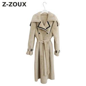 Z-ZOUX Mujeres Coant Turn-down Collar de Cintura Alta Pu Empalme Cordero Cashmere Womens Trench Coats 2018 Nueva Moda de color a juego Tops