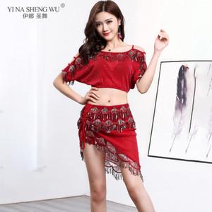 ملابس بيليدانس المثيرة Sequin 2pcs Set Woman Belly Dancing Set Top Sequin Short Dance Performance Wear تنورة بالغة