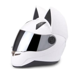 NITRINOS casco de la motocicleta de las mujeres de la personalidad de Moto Capacete Negro Casco para toda la cara del gato Moto Moto Moda